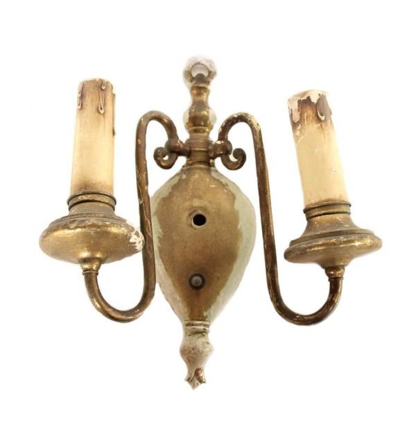 Set of Five Two Arm Brass Sconces