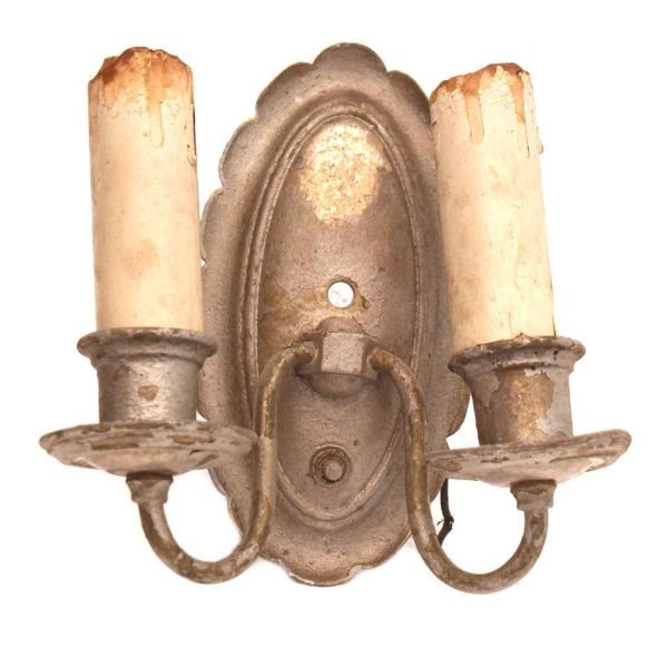 Pair of Worn Two Arm Sconces