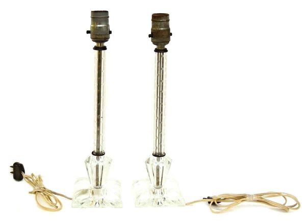 Pair of Antique Glass Table Lamps