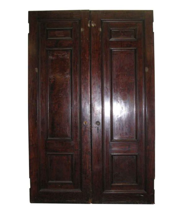 Three Panel Double Doors Mahogany