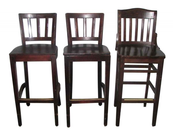 Set of Three Wooden Bar Stools with Slatted Back