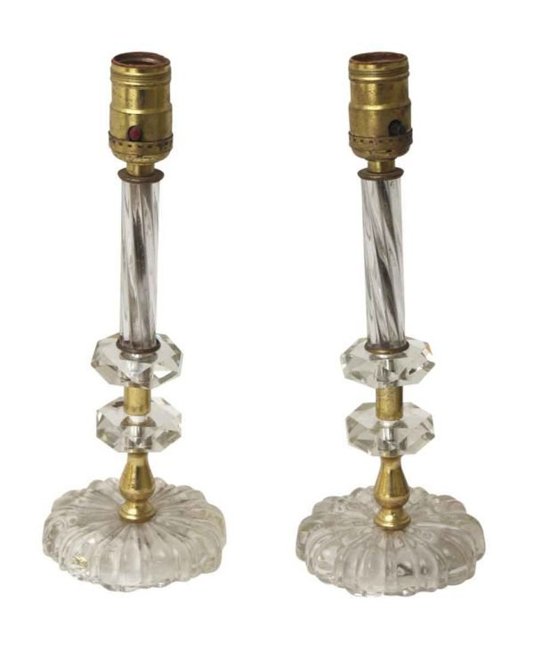 Pair of Glass Vanity Table Lamps with Round Base