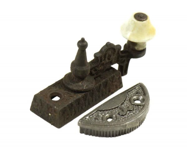 Single Ornate High Profile Iron Latch with Porcelain Detail