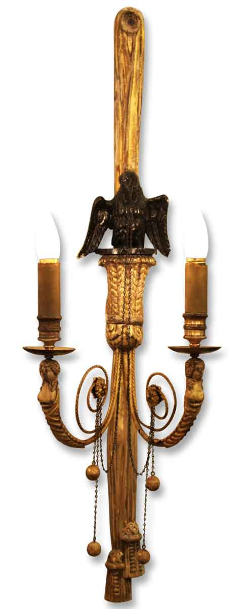 1930s Pair of Carved Gilt Wood Eagle Sconces