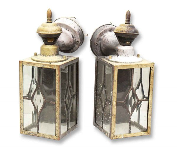 Brass Lantern Sconces with Beveled Glass