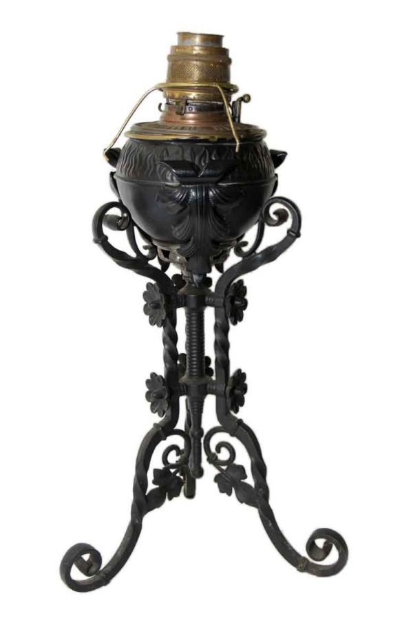 19th Century B&H Ornate Wrought Iron Oil Lantern on Stand