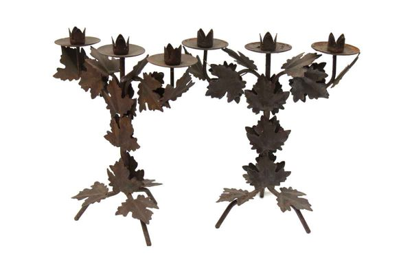 Pair of Metal Foliage Three Light Candle Holders