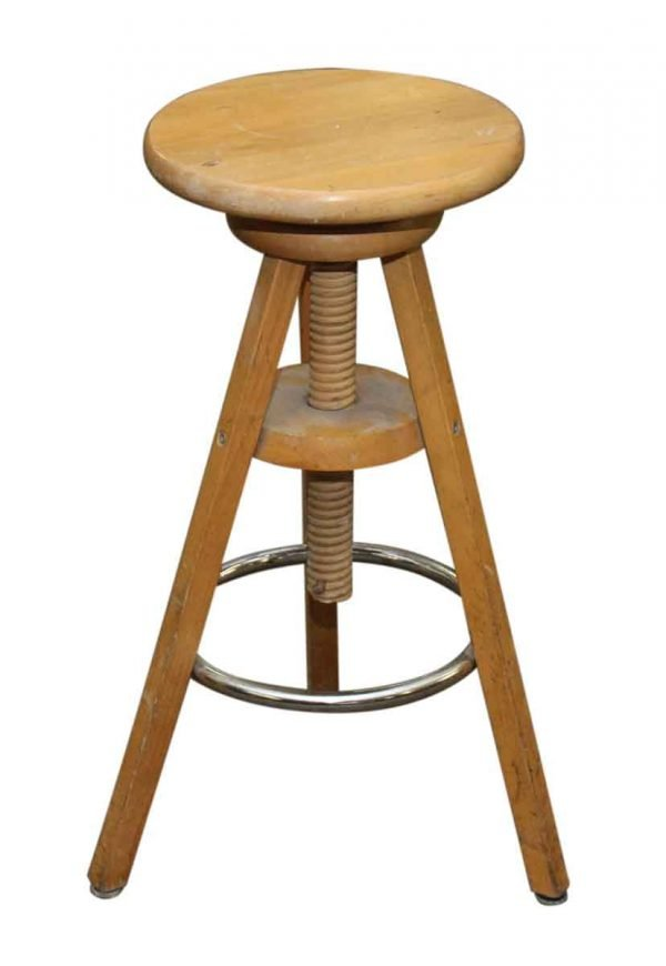 Vintage Wooden Stool with Adjustable Height