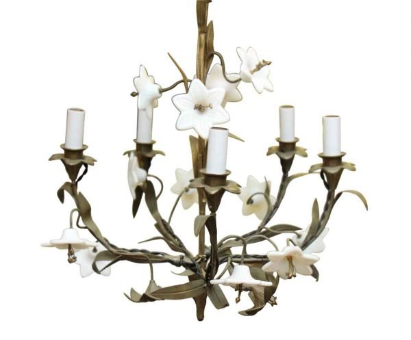 Five Light Floral Chandelier with Milk Glass Detail