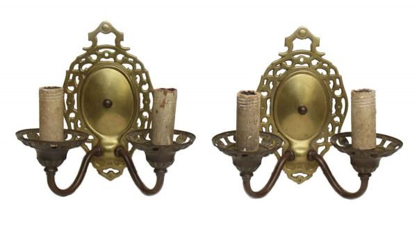 Pair of Double Arm Brass Sconces