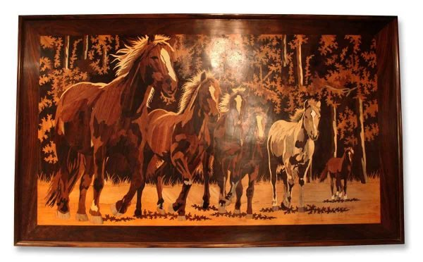 Inlaid Wood Portrait of Horses