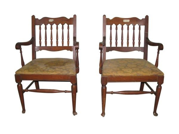 Pair of Solid Wood Spindle Back Chairs