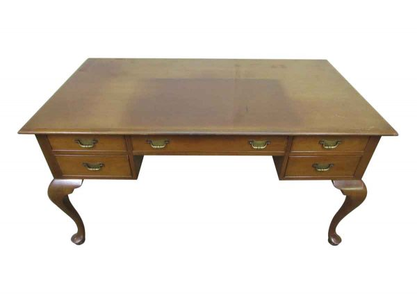 Wood Desk with Cabriolet Legs