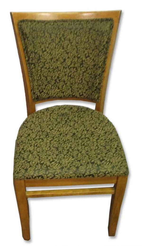 Set of Five Wood & Green Upholstery Chairs