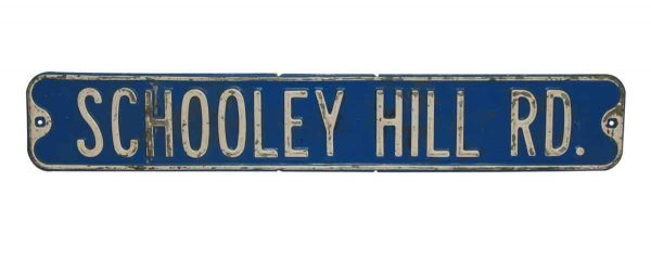 Vintage Blue Metal Road Sign