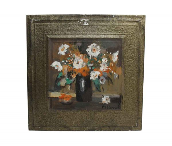 Pretty Floral Painted Novak Tin Panel