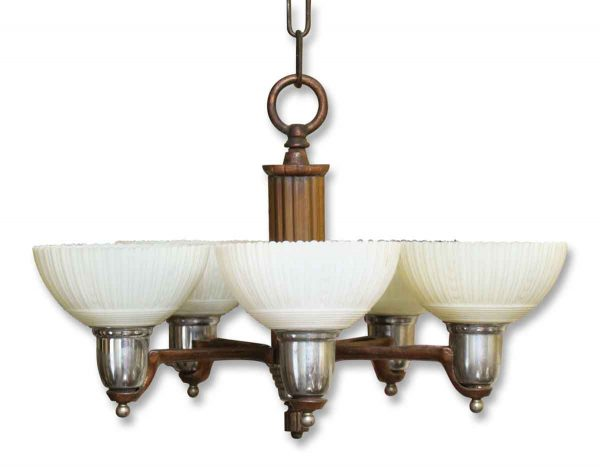Five Arm Art Deco Chandelier with Scalloped Glass Shades