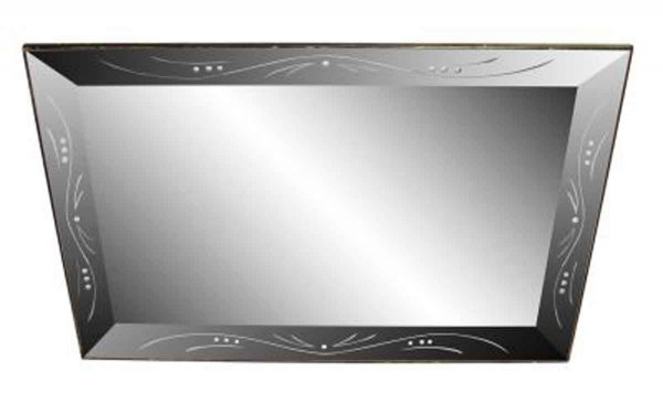 Etched Glass Mirror with Mirrored Glass Frame