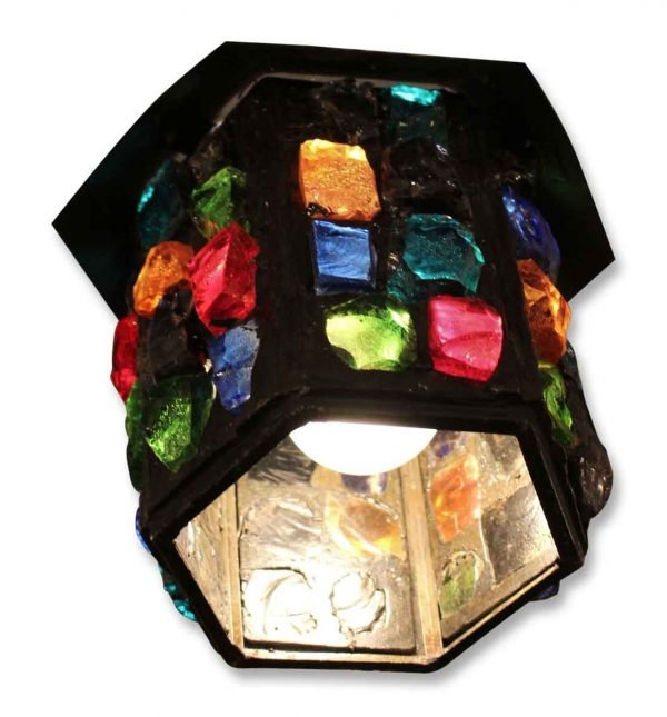 Multi Colored Chunky Glass Hanging Lantern