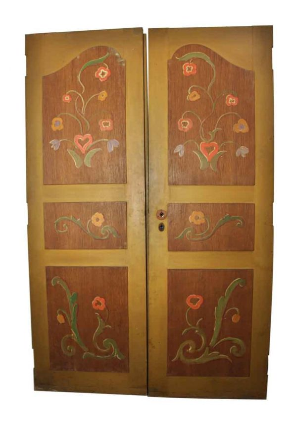 Pair of Small Floral Wooden Doors