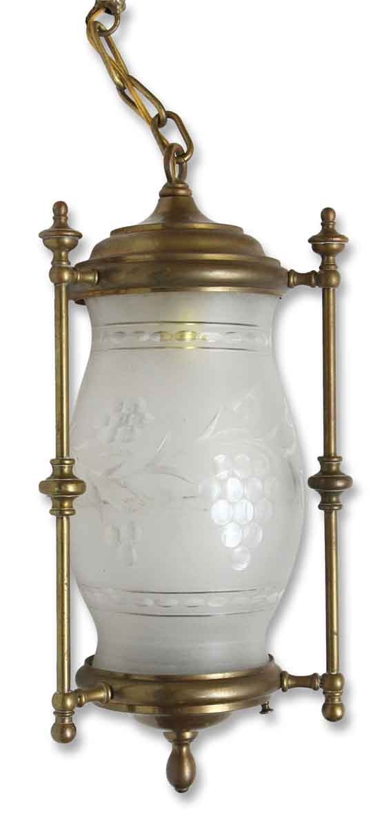 Brass Hall Fixture with Cut Glass