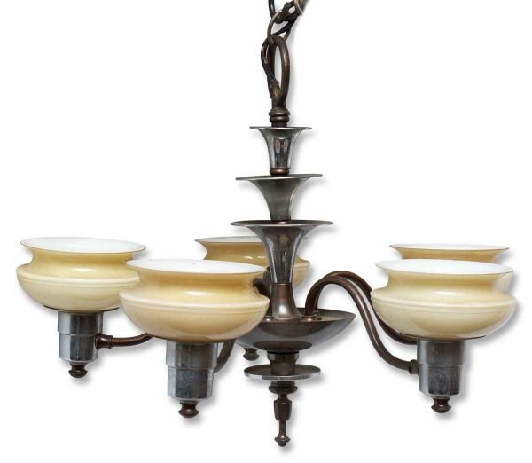 Five Light Deco Fixture with Glass Shades
