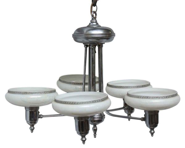 Five Light Chrome Deco Fixture with Metal Trimmed Glass Shades