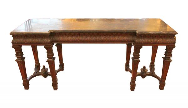19th Century Carved Wood Console Table with Marble Top
