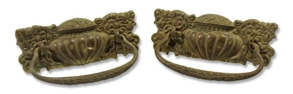 Pair of Ornate Victorian Stamped Brass Pulls
