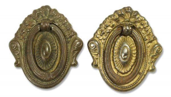 Pair of Victorian Brass Oval Bail Pulls