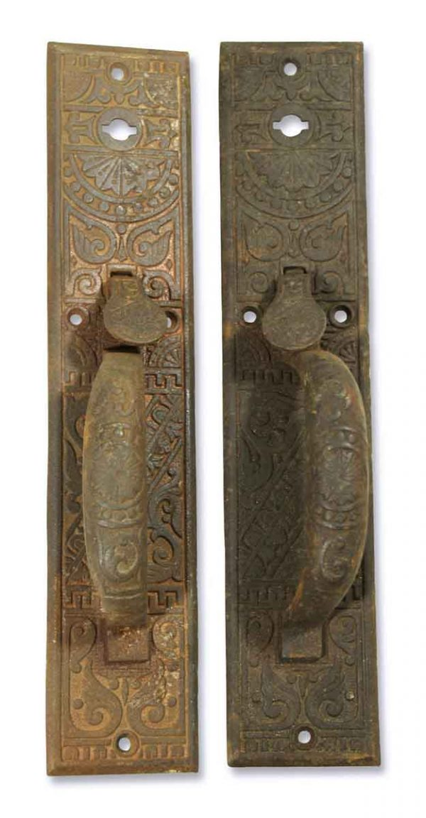 Ornate Pair of Entry Pulls with Thumb Latch