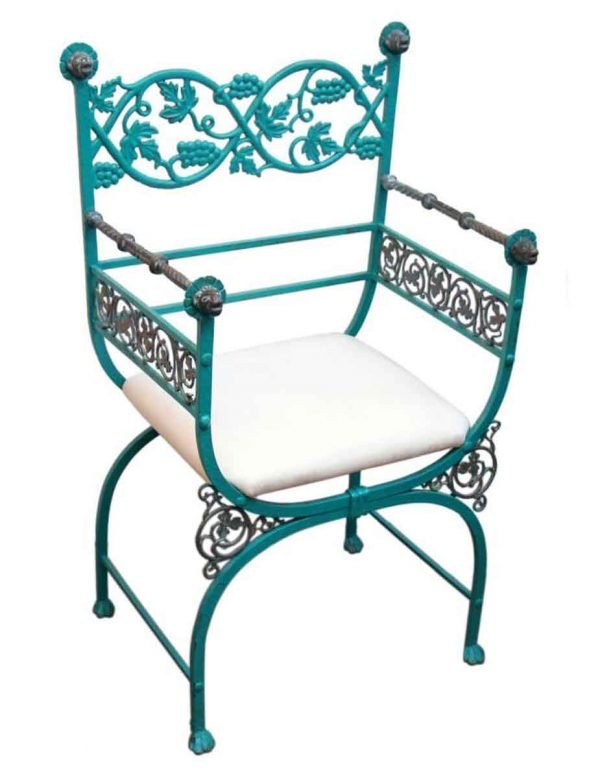 Cool Green Chair with Figural Metal Features