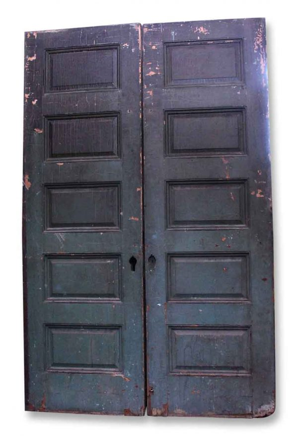 Five Panel Wooden Pocket Doors