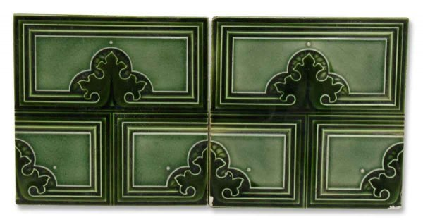 Pair of Green Geometric Wall Tiles