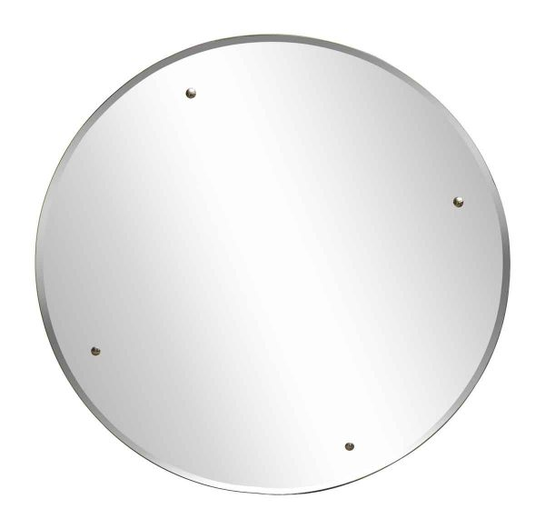 Vintage Round Mirror with Four Metal Accents