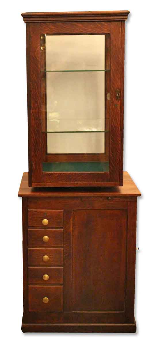 Antique Oak Revolving Display Case with Locking Drawers