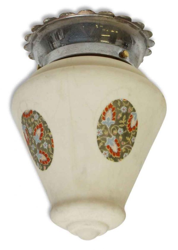 Flush Mount Fixture with Floral Painted Globe