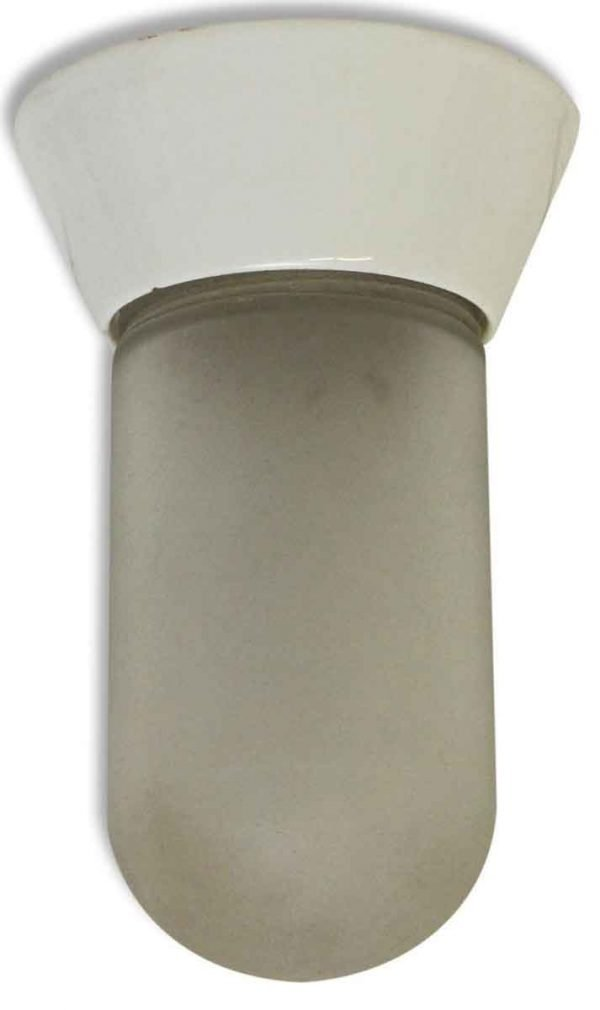 Porcelain Base Fixture with Frosted Glass