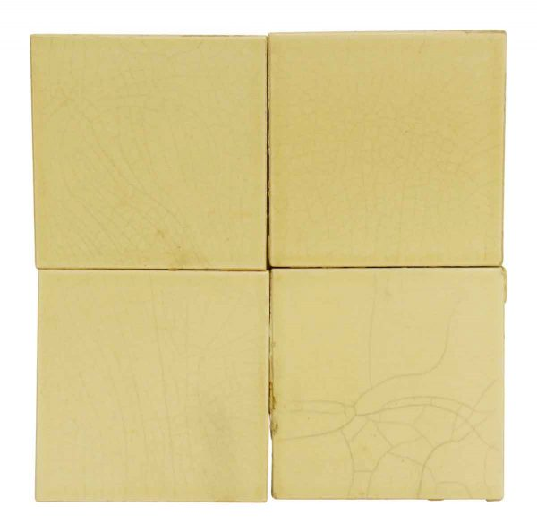 Set of Eight Crackled Off White Tiles