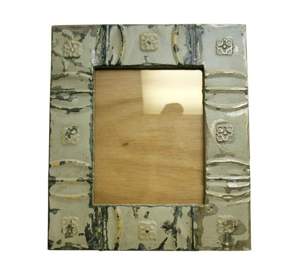 Gray Snowflake Antique Tin Picture Frame