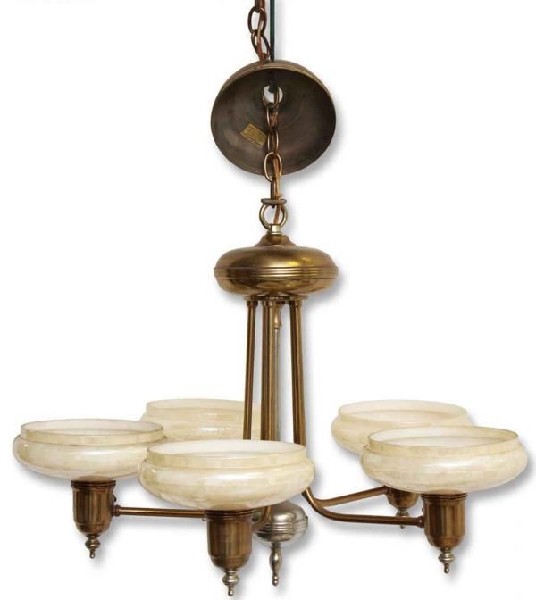 Five Light Deco Chandelier with Glass Shades