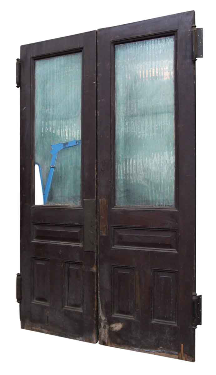 Pair of doors with textured glass olde good things for Textured glass panels