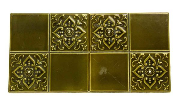 Set of Two Green Decorative Tiles