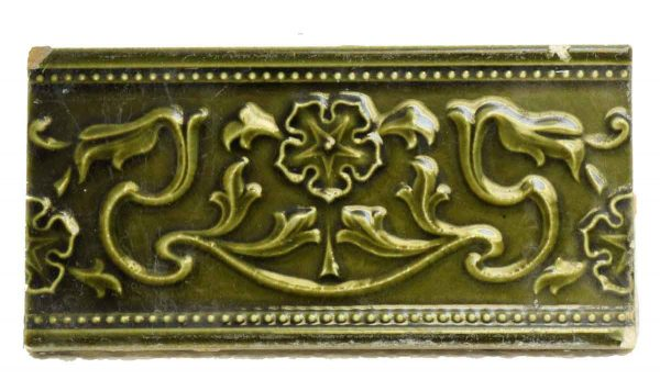 Set of 2 Green Decorative Tiles