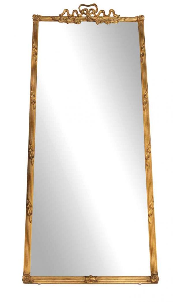 Gold Gilded Rectangular Mirror with Carved Ribbon