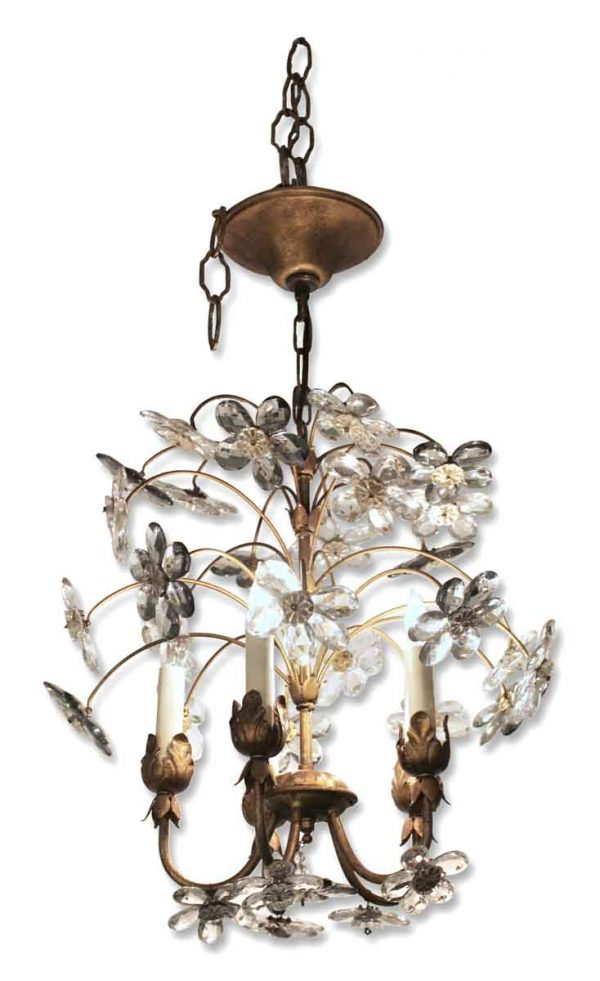 Small Gilt Iron Five Arm Chandelier with Crystal Flowers