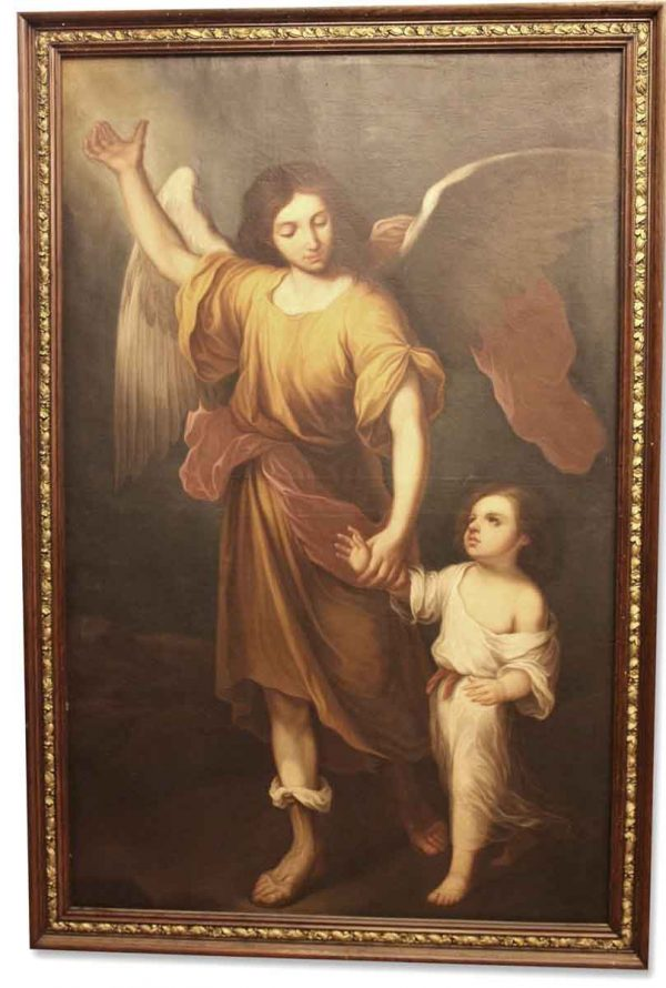 Antique Painting of Angel & Child