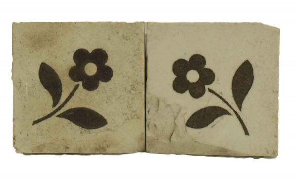 Pair of White & Brown Floral Decorative Tiles