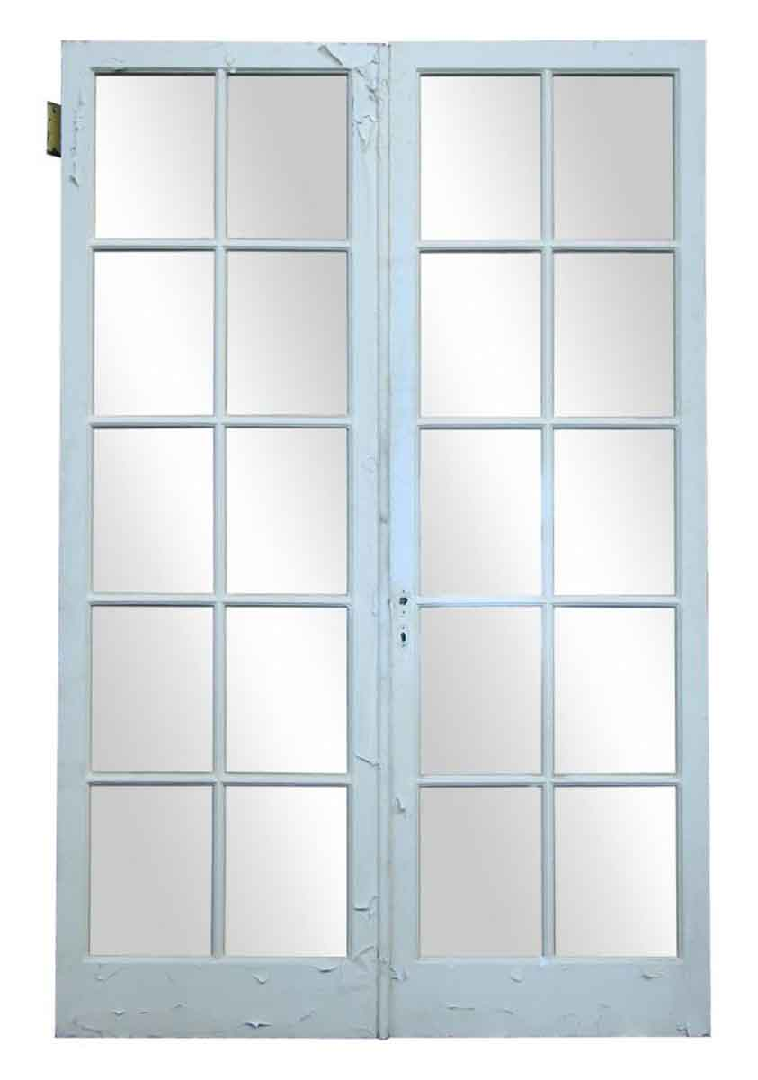 Pair of green double doors olde good things for Green french doors