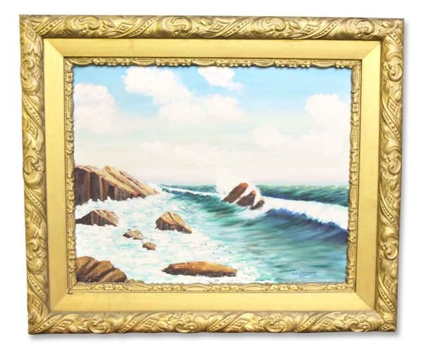 Signed Framed Oil Ocean Painting